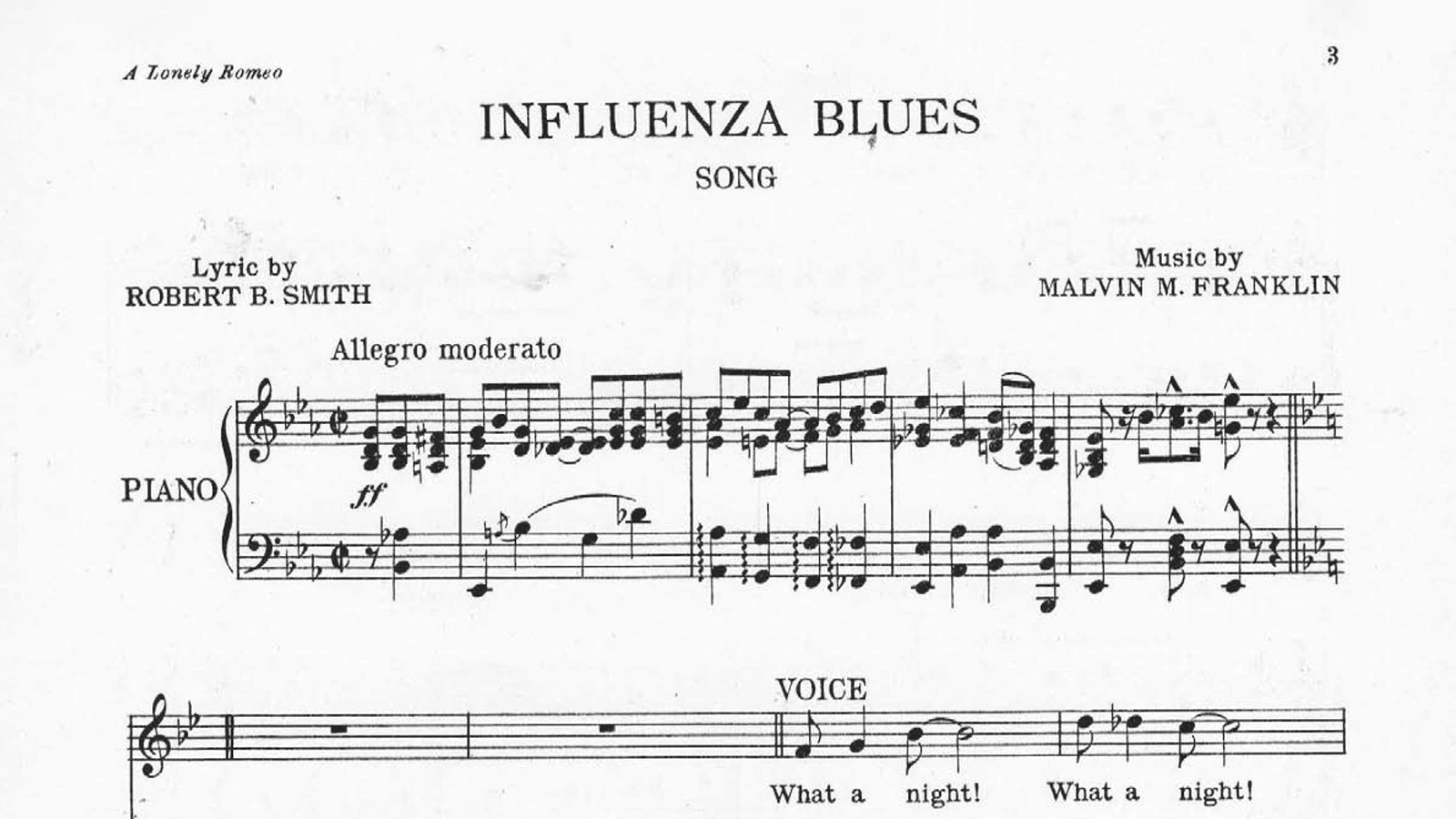 "Sheet music titled ""Influenza Blues."" During the 1918 pandemic, several different songs called ""The Influenza Blues"" were published as sheet music. Image credit: Arizona State University Music Library Sheet Music Collection."