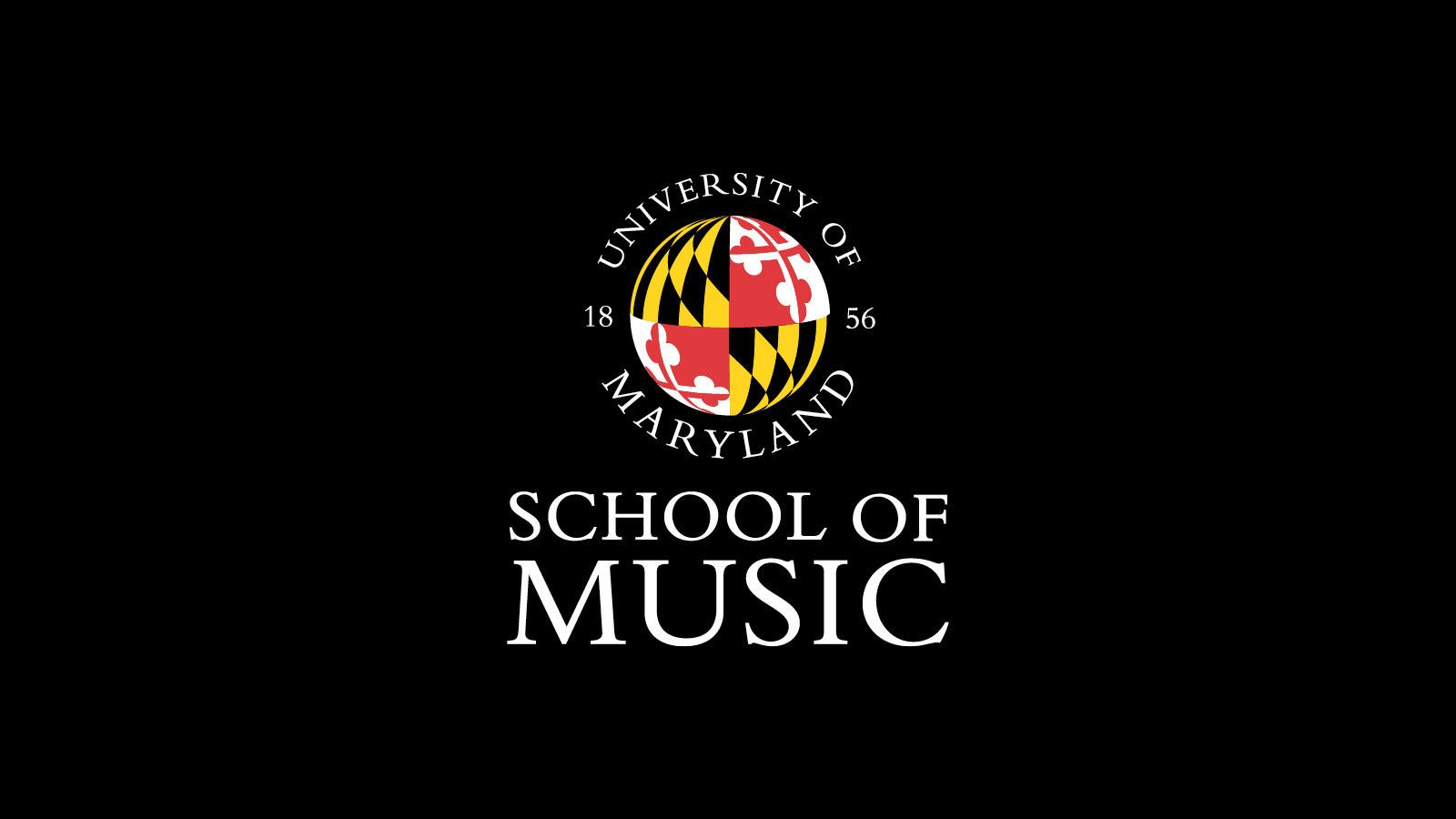 University of Maryland School of Music logo on black background.