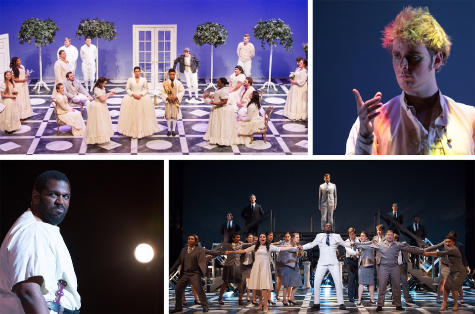 collage of photos from past Maryland Opera Studio fall operas.
