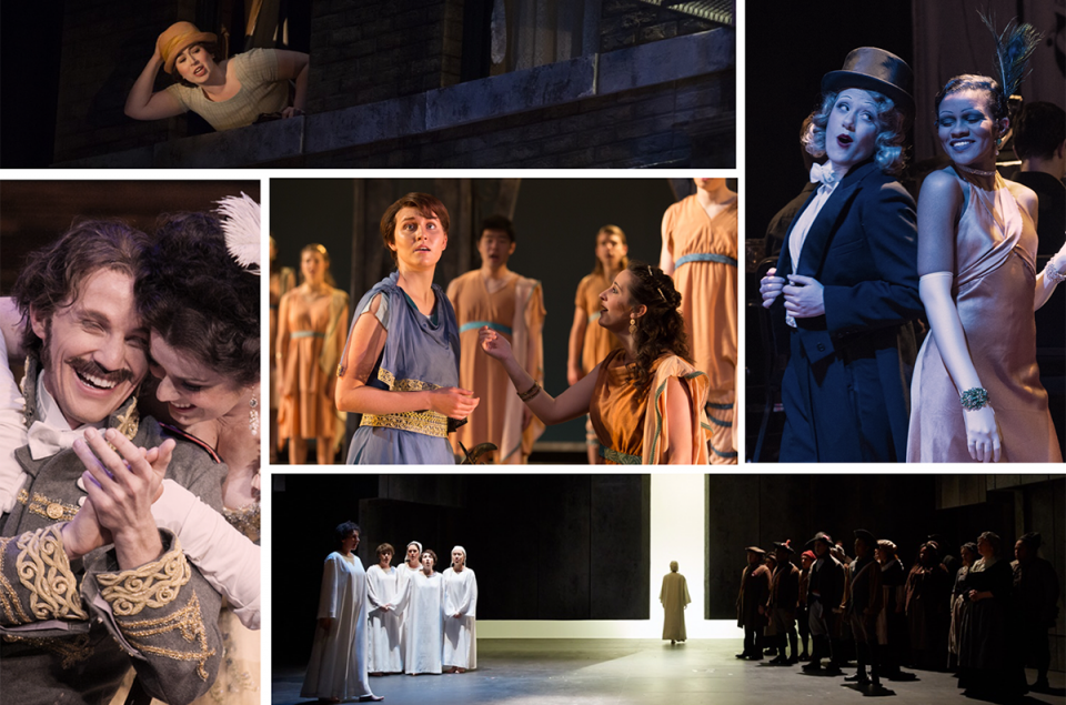 collage of photos from past Maryland Opera Studio spring operas.