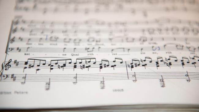 This is a picture of a music score at the University of Maryland's School of Music. Photo by David Andrews