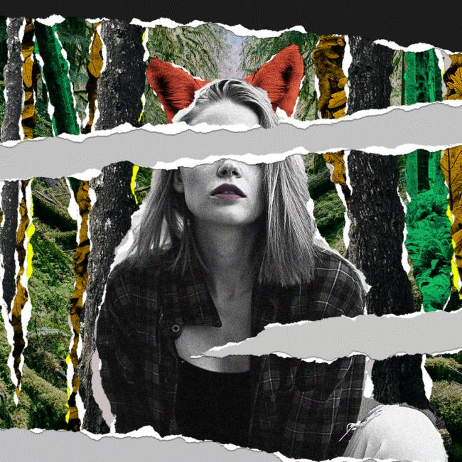 Artwork for the performance of The Cunning Little Vixen that has a woman wearing fox ears.