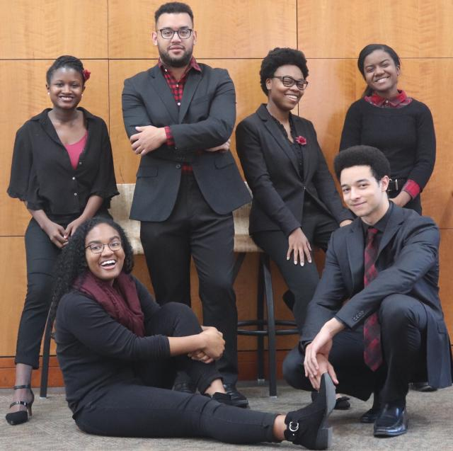 The six UMD School of Music students awarded fellowships to SphinxConnect from left: Camille Jones, Lauren Holmes, Phillip Ducreay, Daphine Henderson, Gabe Hightower and Christen Holmes. (Photo by J.J. Nelson)